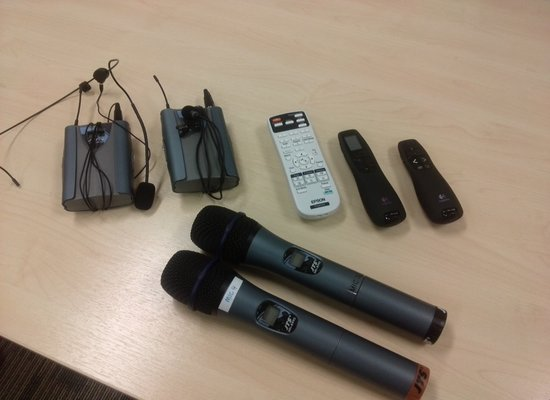 seminar room microphone and clicker